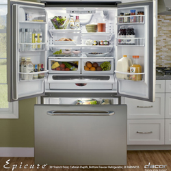 Dacor Epicure EF36BNNFSS 19.8 cu. ft. Refrigerator with Tempered Glass Spill-Proof Shelves & Gallon Door Storage
