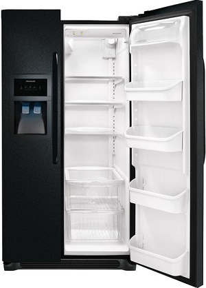 Frigidaire FFHS2622MB 26.0 cu. ft. Side by Side Refrigerator, SpillSafe Glass Shelves, Gallon Door Bins, Humidity-Controlled Crisper, External Ice/Water Dispenser