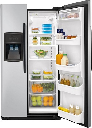 Frigidaire FFHS2622MM 26.0 cu. ft. Side by Side Refrigerator, SpillSafe Glass Shelves, Gallon Door Bins, Humidity-Controlled Crisper, External Ice/Water Dispenser