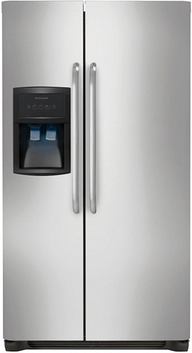 Frigidaire FFHS2622MS 26.0 cu. ft. Side by Side Refrigerator, SpillSafe Glass Shelves, Gallon Door Bins, Humidity-Controlled Crisper, External Ice/Water Dispenser