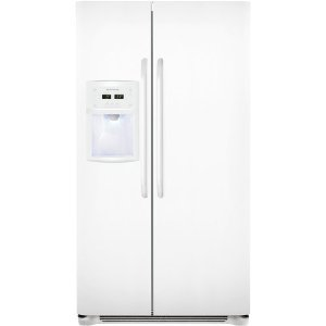 Frigidaire FFSC2323LP 22.6 cu ft Counter Depth Side by Side Refrigerator, Store More System, Water Filtration, External Dispenser, Pearl White
