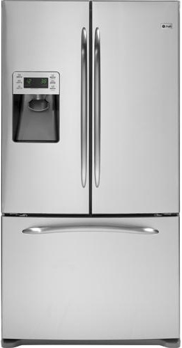 GE Profile PFSS9PKYSS 28.5 cu. ft. French-Door Refrigerator, 4 Glass Shelves, Gallon Door Storage, TurboCool Setting, Factory-Installed Icemaker/Water Dispenser