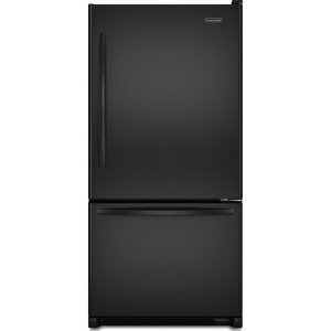 KitchenAid Architect II KBRS20EVBL 19.9 cu. ft. Counter Depth Bottom Freezer Refrigerator, FreshChill Temperature System, Humidity-Controlled Crispers, Internal Water Dispenser & Ice Maker, Black