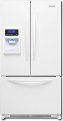 KitchenAid Architect II KFIS25XVWH 24.9 cu. ft. French Door Refrigerator with Adjustable Spillproof Shelves, Humidity-Controlled Crispers, External Ice and Water Dispenser and FreshChill Temperature Management System, White