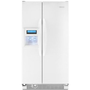 KitchenAid Architect II KSCK25FVWH 24.5 cu. ft. Counter-Depth Side by Side Refrigerator, Gallon Door Storage, Humidity-Controlled Crisper, External Ice/Water Dispenser with PuR Filtration System, White