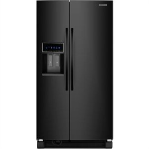 KitchenAid Architect II KSRJ25FXBL 25.6 cu. ft. Side by Side Refrigerator, Adjustable SpillClean Glass Shelves, In-Door-Ice, External Ice/Water Dispenser with LCD Display, Black