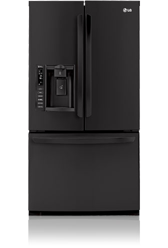 LG LFX25976SB 24.7 cu. ft. French Door Refrigerator, Glass Shelves, Glide N' Serve Drawer, External Ice/Water Dispenser, LED Interior Light, Linear Compressor, Smooth Black