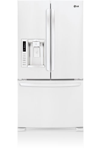 LG LFX28978SW 27.6 cu. ft. French Door Refrigerator with 4 Split Glass Shelves, Glide N' Serve Drawer, IcePlus, External Ice/Water Dispenser and Linear Compressor, Smooth White