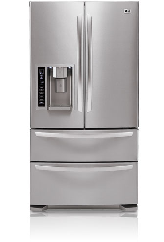 LG LMX25984ST 24.7 cu. ft. French Door Refrigerator, 4 Spill Protector Glass Shelves, 4 Compartment Crisper, External Ice/Water Dispenser and Double Freezer Drawers, Stainless Steel