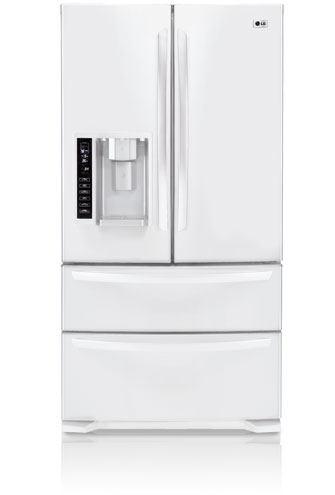 LG LMX25984SW 24.7 cu. ft. French Door Refrigerator, 4 Spill Protector Glass Shelves, 4 Compartment Crisper, External Ice/Water Dispenser and Double Freezer Drawers, Smooth White
