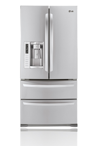 LG LMX25988ST 24.7 cu. ft. French Door Refrigerator, Double Freezer Drawers, Glide N' Serve Drawer, Energy Star Qualified, External Water/Ice Dispenser, Stainless Steel