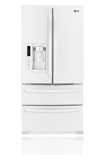 LG LMX25988SW 24.7 cu. ft. French Door Refrigerator, Double Freezer Drawers, Glide N' Serve Drawer, Energy Star Qualified, External Water/Ice Dispenser, Smooth White