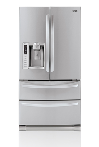 LG LMX28988ST 27.5 cu. ft. 4 Door French Door Refrigerator, Slide-Out Spill Protector Glass Shelves, Glide N' Serve Drawer, Double Freezer Drawers, External Tall Ice/Water Dispenser, Stainless Steel