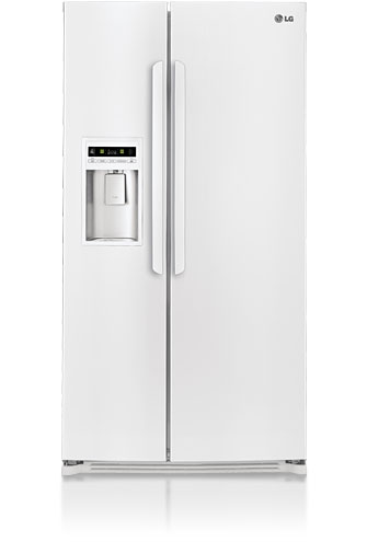 LG LSC27914SW 26.5 cu. ft. Side by Side Refrigerator, Glass Shelves, Tall Flush Mount External Ice & Water Dispenser, LED Display and Digital Controls, Smooth White