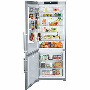 Liebherr CS1611 15.5 cu. ft. Freestanding Counter-Depth Bottom-Freezer Refrigerator with 4 Glass Shelves, 3 Freezer Drawers, Gallon Door Storage, LED Lighting and Digital Temperature Display, Left Hand Door Swing