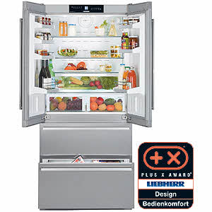 Liebherr CS2062 19.6 cu. ft. Counter-Depth French Door Refrigerator with 3 Glass Shelves, 2 Freezer Drawers, LED Lighting, Automatic Ice Maker and Sabbath Mode
