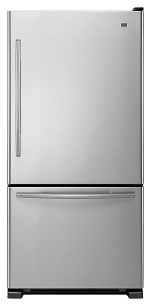 Maytag MBR2258XES 21.9 cu. ft. Bottom-Freezer Refrigerator, Adjustable Spill-Catcher Glass Shelves, Ice Maker, Glide-Out Freezer Drawer, Energy Star, Electronic Temperature Controls