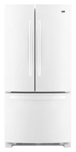 Maytag MFF2258VEW 22.0 cu. ft. French Door Refrigerator, Adjustable Spill-Catcher Glass Shelves, Pick-Off Gallon-Plus Door Bins, Automatic Moisture Control, Electronic Dual Cool System