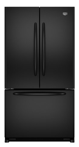 Maytag MFF2558VEB 24.8 cu. ft. French Door Refrigerator, 5 Spill-Catcher Glass Shelves, Dual Cool System, Humidity Controlled Crispers, Beverage Organizer Rack, Ice Maker, Hidden Hinges