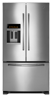 Maytag Ice2O EcoConserve MFI2670XEM 25.5 cu. ft. French Door Refrigerator, 4 Spill-Catcher Glass Shelves, Wine Holder, LED Interior Lighting, SmoothClose Freezer Drawer, External Water/Ice Dispenser