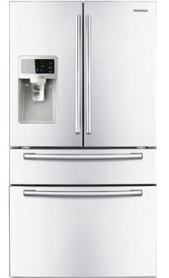 Samsung RF4287HAWP 28 cu. ft. French Door Refrigerator, 5 Spill Proof Glass Shelves, Twin Cooling Plus System, Surround Air Flow, FlexZone Drawer, Counter Height Design, External Ice/Water Dispenser