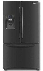 Samsung RFG237AABP 23 cu. ft. Counter-Depth French Door Refrigerator, Twin Cooling System, Power Freeze, Cool Select Pantry, External Water and Ice Dispenser, External Digital Display