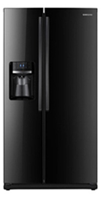 Samsung RS261MDBP 26 cu. ft. Side by Side Refrigerator, 4 Tempered Glass Spill Proof Shelves, Power Freeze/Cool Options, LED Lighting, Compact Icemaker, Door Alarm, External Ice/Water Dispenser