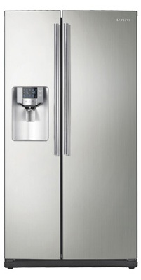Samsung RS263TDPN 26 cu. ft. Side by Side Refrigerator, 4 Glass Shelves, LED Lighting, Twin Cooling System, Power Freeze/Cool Options, Compact Icemaker, External Water/Ice Dispenser