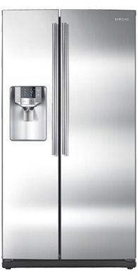 Samsung RS263TDRS 26 cu. ft. Side by Side Refrigerator, 4 Glass Shelves, LED Lighting, Twin Cooling System, Power Freeze/Cool Options, Compact Icemaker, External Water/Ice Dispenser