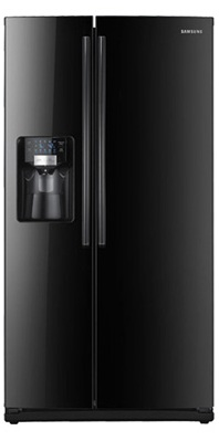 Samsung RS267TDBP 26 cu. ft. Side by Side Refrigerator, 4 Spill Proof Glass Shelves, Twin Cooling, LED Tower Lighting, Wine Rack, Cool Select Zone, In-door Ice Maker, External Water/ Ice Dispenser