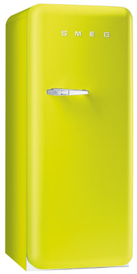 Smeg FAB28UVE 9.22 cu. ft. 50's Style Refrigerator, Antibacterial Interior, Ice Compartment, Adjustable Glass Shelves: Lime Green