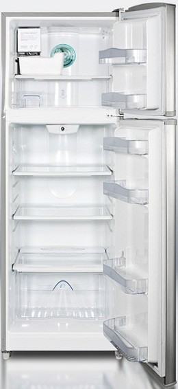 Summit FF1325SSIM 10.2 cu. ft. Counter-Depth Top-Freezer Refrigerator, Adjustable Glass Shelves, Door Storage, Large Freezer Compartment, With Ice Maker